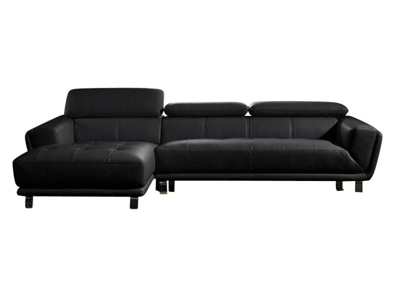 Canapé cuir angle celine - gauche - noir