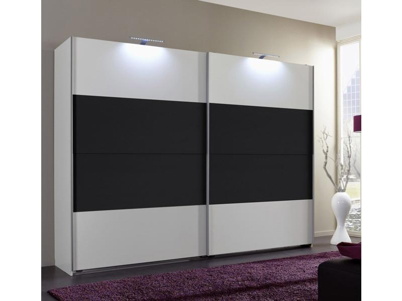 Armoire de rangement coloris blanc/anthracite 225 x 210 x 65 cm-pegane-