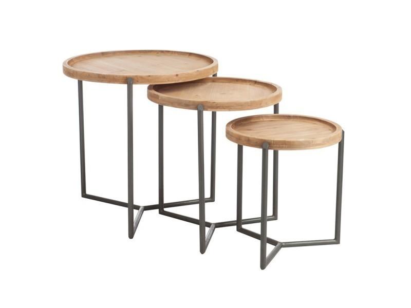 Tables Gigognes Bois Scoop L 60 X L 60 X H 62 Neuf Conforama