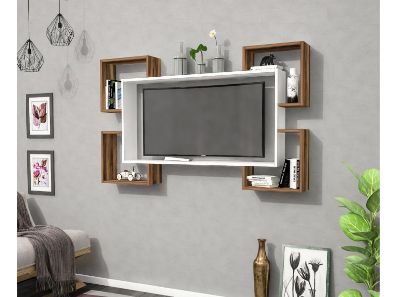 Meuble tv design wrap blanc et motif bois noyer marron clair