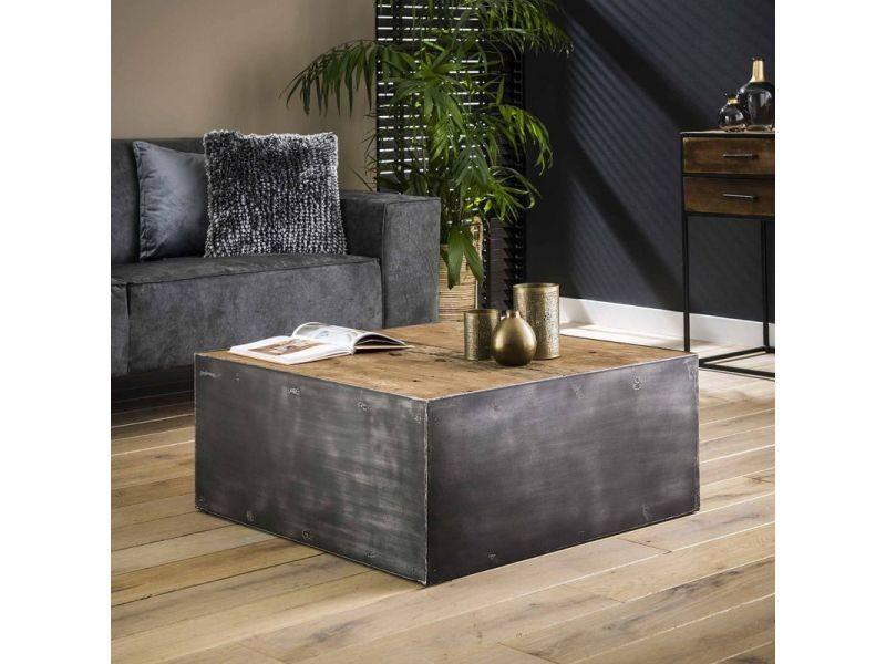 Table basse industrielle en bois et métal benjamin