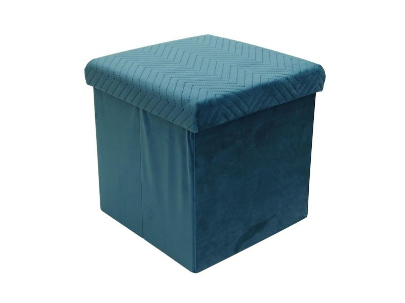 Floy - coffre pouf pliable velours bleu canard