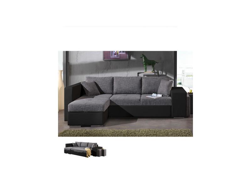 Canapé d'angle à gauche convertible gris et pvc noir palencia