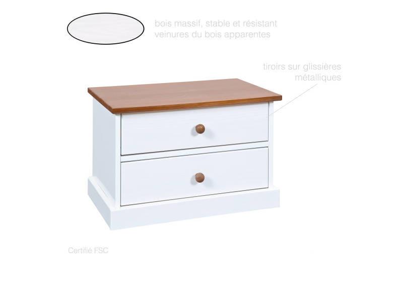 Table De Chevet  Meuble 2 Tiroirs   Chambre à Coucher   Entrée   Bois Massif    Bicolore Blanc Et Brun