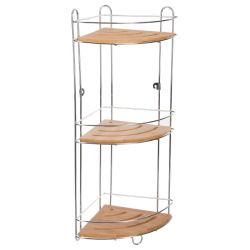 Etagère d'angle métal et bambou 3 niveaux