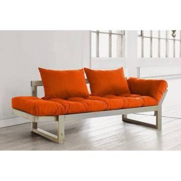 Banquette Meridienne Style Scandinave Futon Orange Edge Couchage 75