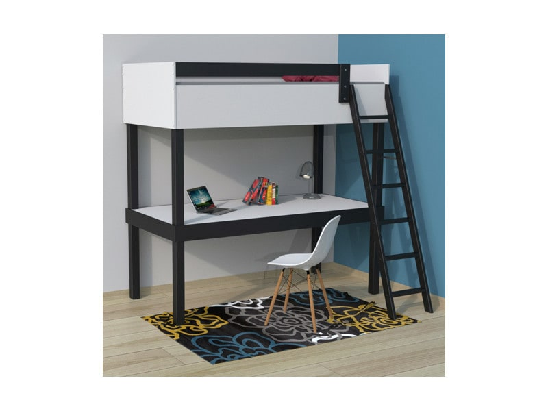 lit en hauteur tao 90x190 bureau 1 sommier dakar 240337 vente de lit enfant conforama. Black Bedroom Furniture Sets. Home Design Ideas