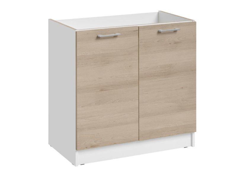 Meuble sous-évier cuisine - 2 portes, l 80 cm - chêne naturel