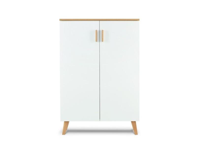 Frili - commode style scandinave chambre/entrée/salon - 80x117x46 cm - 2 portes + 3 compartiments de rangement - design nordique - blanc/chêne