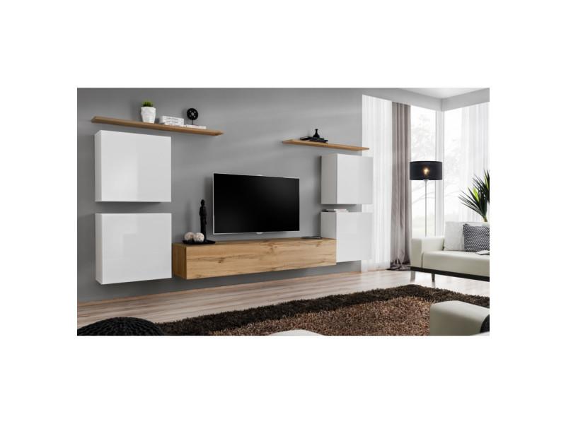 Ensemble mural - switch iv - 1 vitrine - 1 banc tv - 2 étagères - bois et blanc - modèle 2