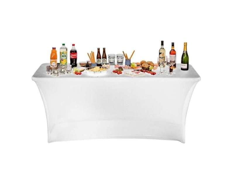Housse nappe pour table pliante 180cm blanc - Vente de Salon ...