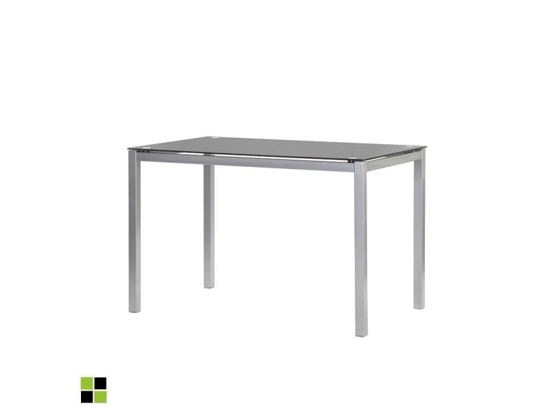 Momma home - Table fixe rectangulaire LLUVIA avec plateau en verre NOIR et pieds laqués GRIS argent. MOMMA HOME
