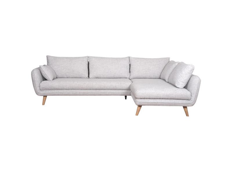 Canapé d'angle droit scandinave 5 places gris clair chiné creep