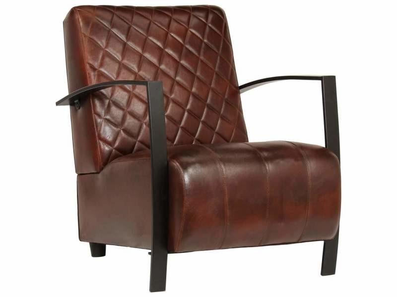 Fauteuil chaise siège lounge design club sofa salon marron cuir véritable helloshop26 1102143/3