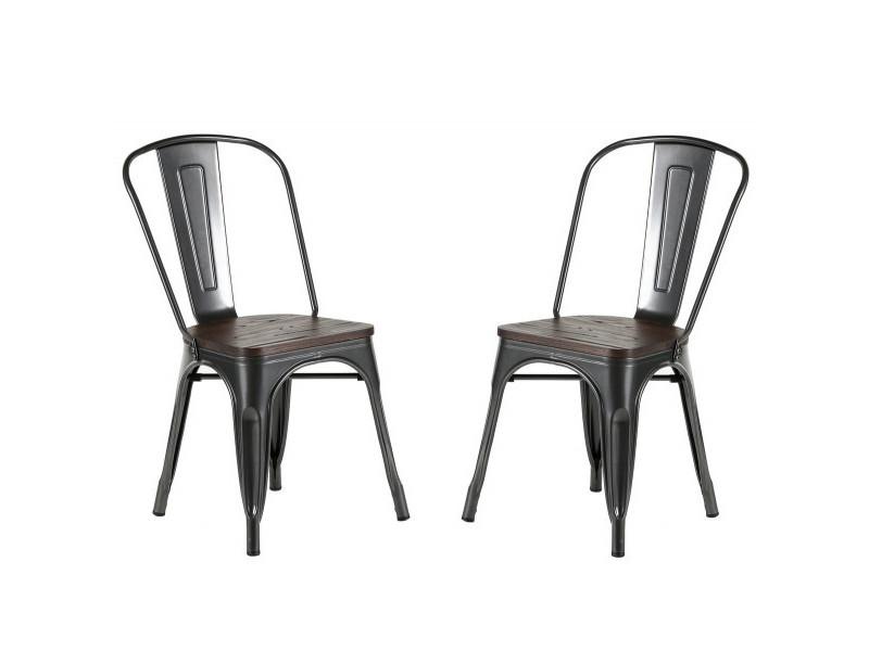 Nevada - lot de 2 chaises de repas acier gris et bois foncé