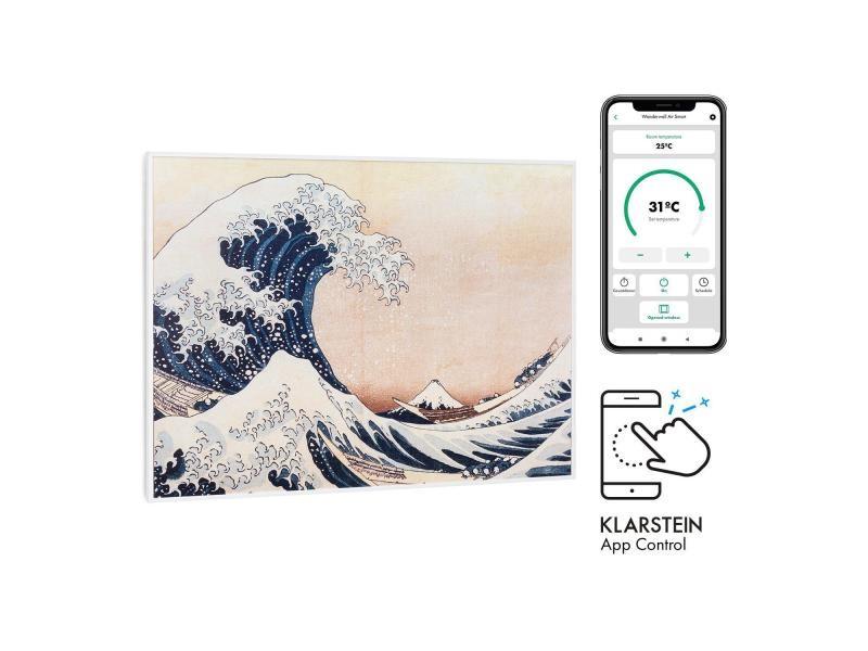 Klarstein wonderwall air art smart radiateur infrarouge connecté , 80 x 60cm , chauffage 500w , pour 10m² , , design vagues