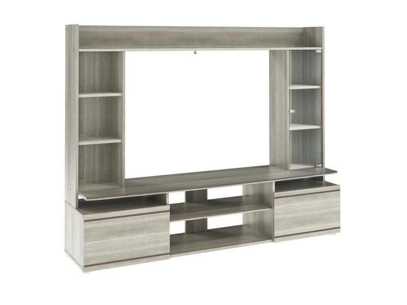 meuble tv mural moderne avec tag res coloris ch ne gris p. Black Bedroom Furniture Sets. Home Design Ideas