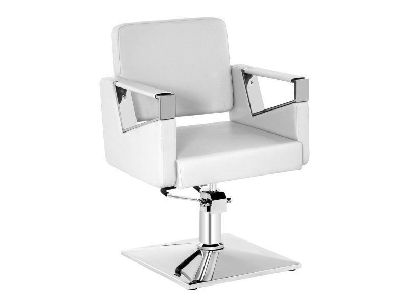 Fauteuil de barbier acier simili cuir blanc helloshop26 14_0001638