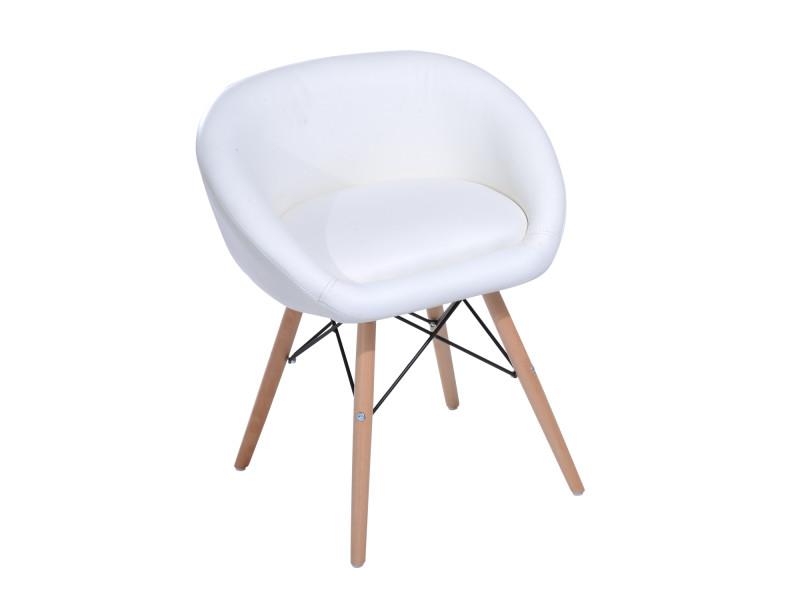 Chaise design scandinave - chaise de salon ou cuisine - pieds effilés bois massif - revêtement synthétique pu blanc