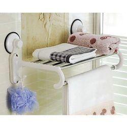 Porte-serviettes/etagère de style contemporain avec crochets et de puissantes ventouses pour la fixation