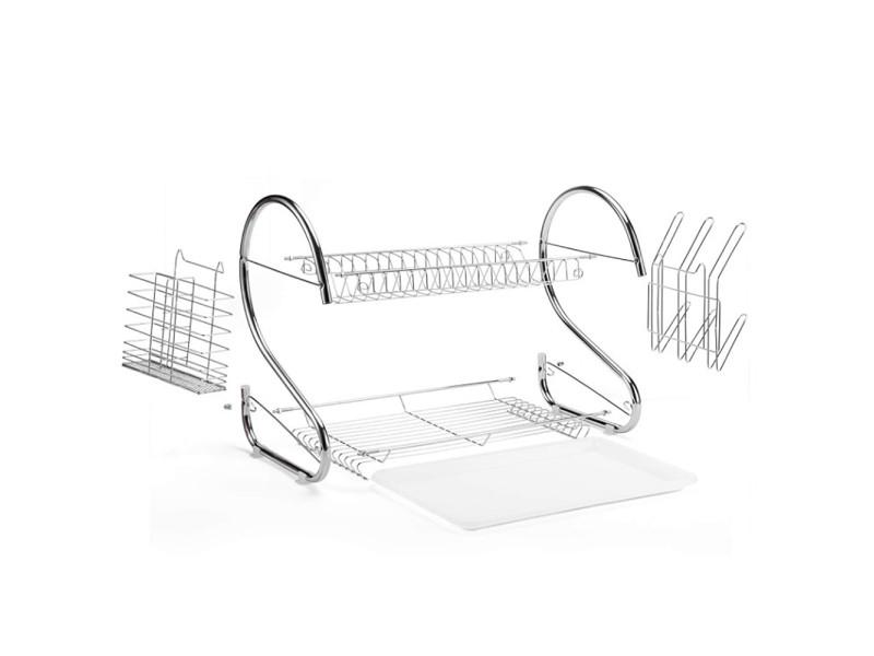Hombuy égouttoir à vaisselle chromé effet inox double niveau avec porte-tasse et égouttoir pour couverts