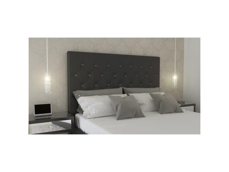 Tete de lit sogno tete de lit capitonnées 170cm - simili noir et boutons strass