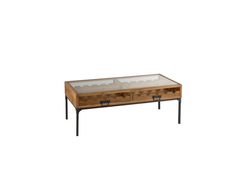 Table basse industrielle porte-bouteilles bois et métal 1129
