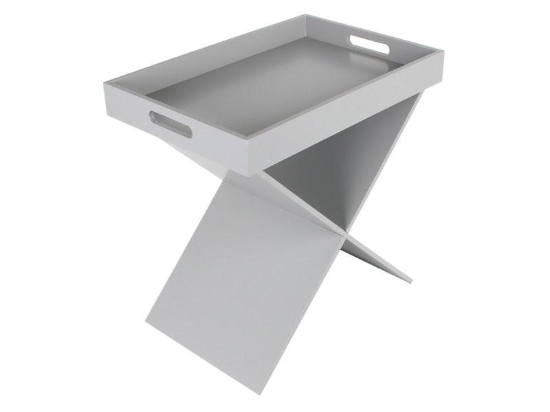 Table d'appoint plateau amovible gris
