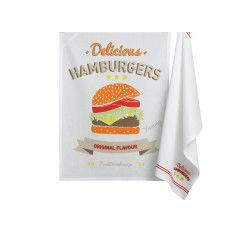 Lot 2 torchons burger rouge les ateliers du linge