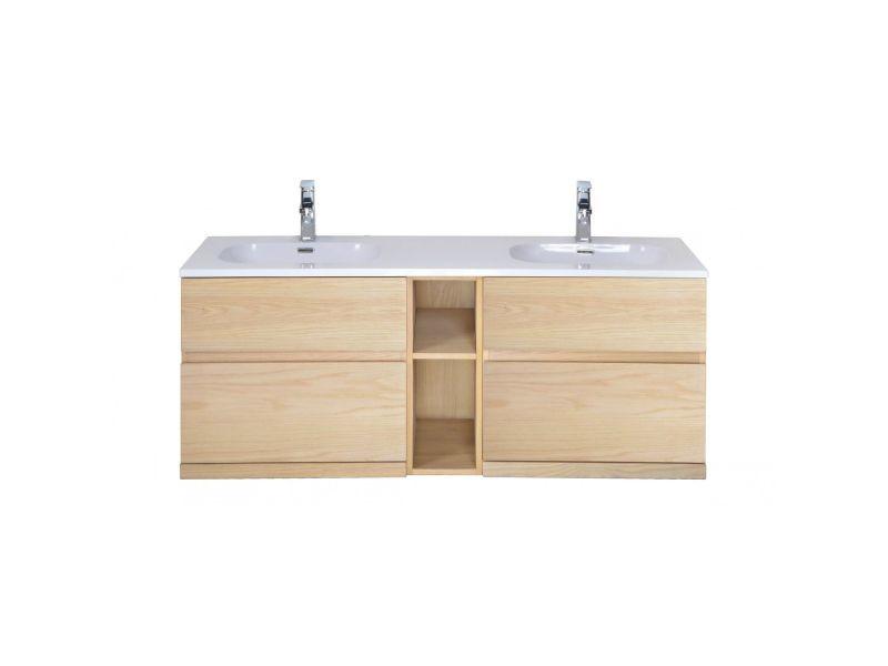Meuble salle de bain bois double vasque 140 cm enio - Vente ...