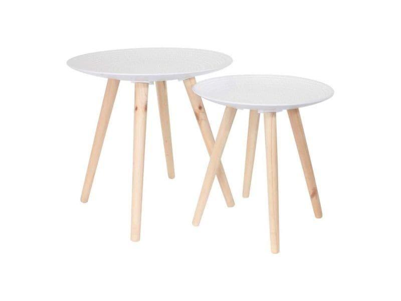 Tables gigognes rondes blanches déco (lot de 2)