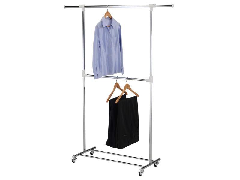 portant simple v tements rezzo penderie sur roulettes vestiaire mobile avec 2 barres dont 1. Black Bedroom Furniture Sets. Home Design Ideas