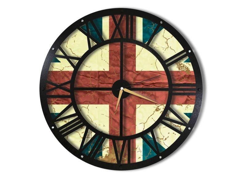 Horloge murale en métal wall angleterre - diam. 50 cm - noir
