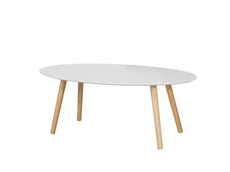 Table basse ovale table d'appoint design moderne table de salon en bois fbt61-w sobuy®