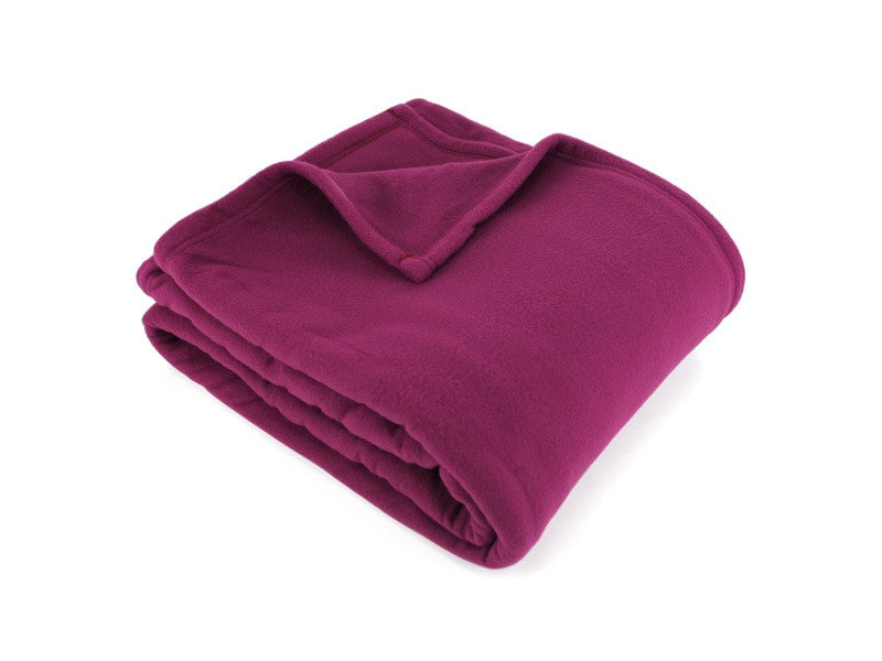 Couverture polaire 240x260 cm 100% polyester 350 g/m2 teddy violet prune
