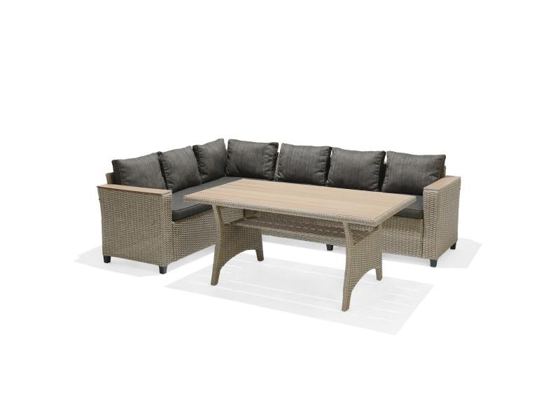 Salon de jardin extérieur canapé d'angle et table à manger chillvert turín en acier et rotin synthétique coussins gris