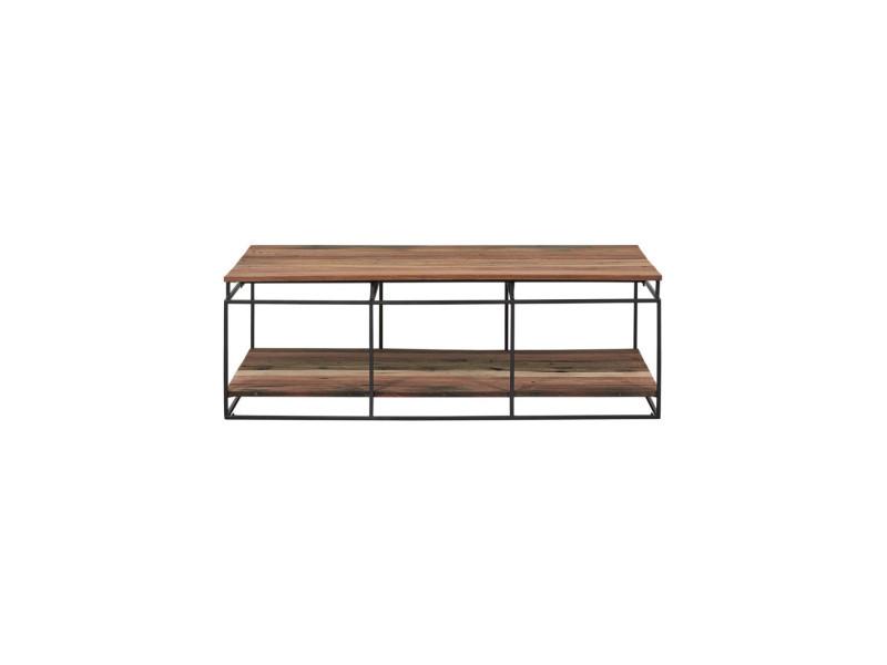Table basse rectangulaire fer/bois double plateau - phoenix - l 120 x l 70 x h 40 - neuf