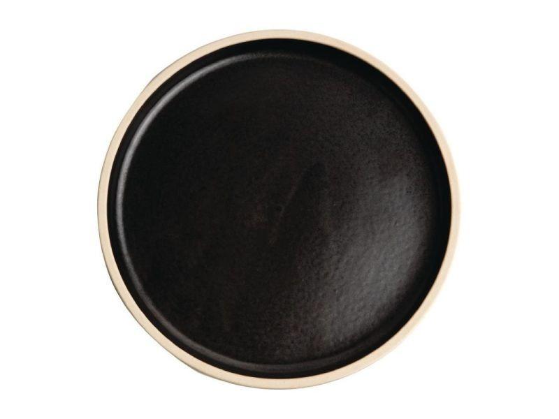 Assiette plate bord droit 180 mm - 6 coloris - lot de 6 - olympia canvas - noir mat grès