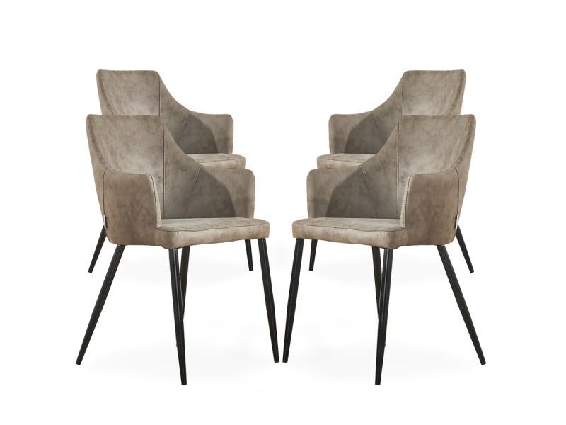 Lot de 4 chaises zarah en simili cuir couleur taupe - rembourrée