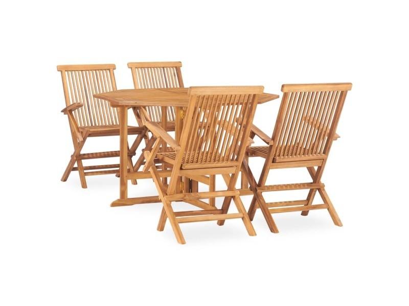 Vidaxl mobilier à dîner d'extérieur pliable 5 pcs bois solide de teck