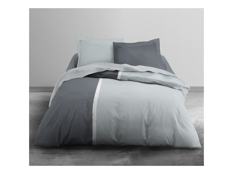 housse de couette bicolor 220x240 poivre alu 2 taies vente de les douces nuits de mae. Black Bedroom Furniture Sets. Home Design Ideas