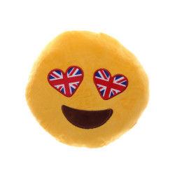 Peluche coussin moelleux emoji i love londres yeux drapeau anglais