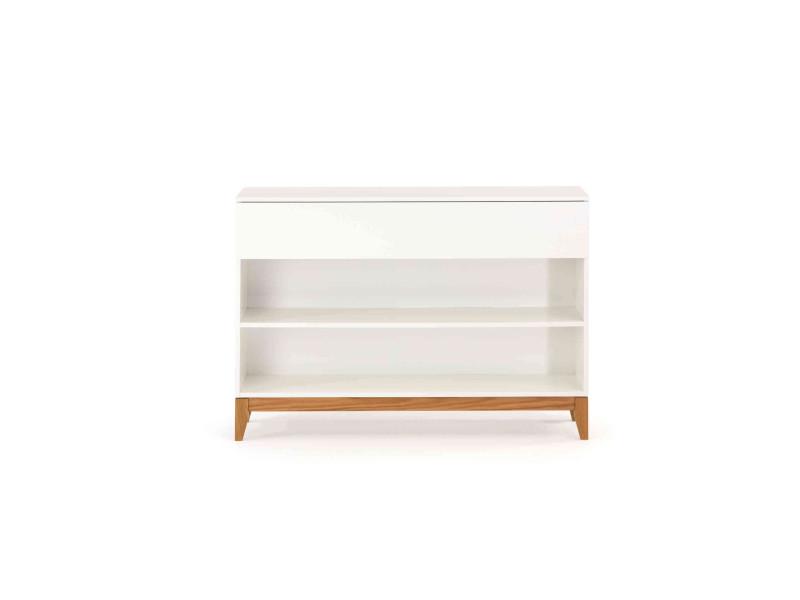 Commode 1 tiroir 2 étagères en bois massif blanc - cf0031