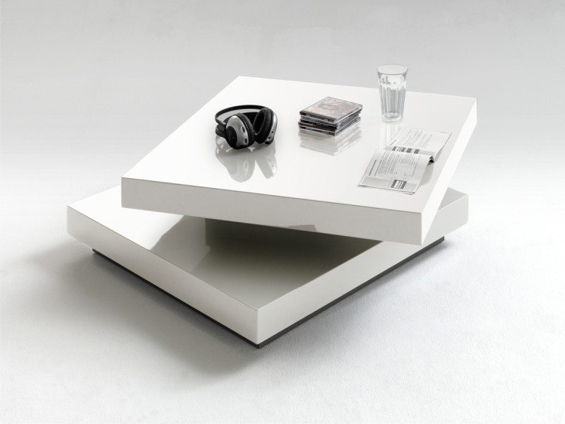 Table basse en laqué blanc brillant avec plateau pivotant - l75 x h30 x p75 cm -pegane-