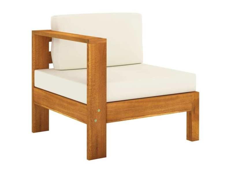 Vidaxl canapé de jardin 3 places et coussins blanc crème bois d'acacia