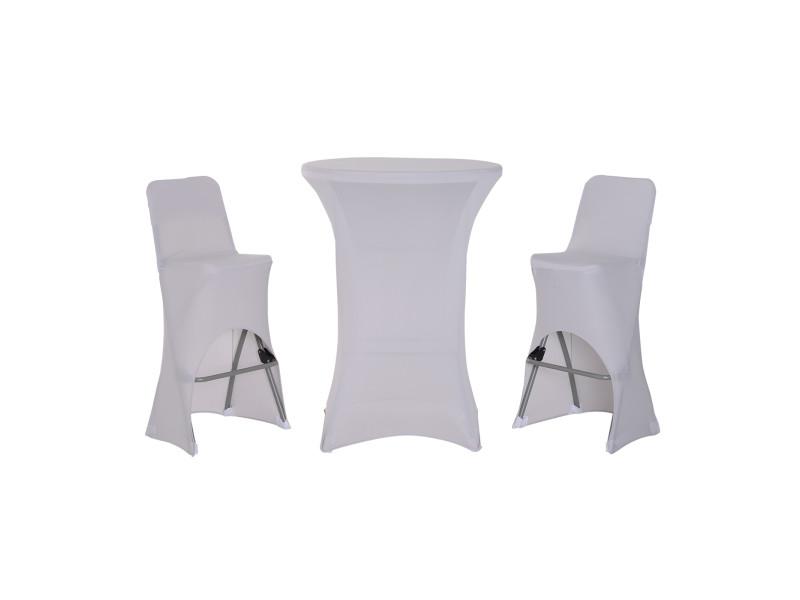 Ensemble table de bar + 2 tabourets de jardin pliable métal époxy hdpe housses x 3 incluses gris clair