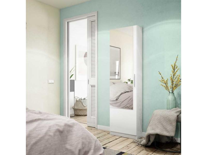 Meuble à chaussures avec miroir blanc - alto - l 50 x l 22 x h 180 cm