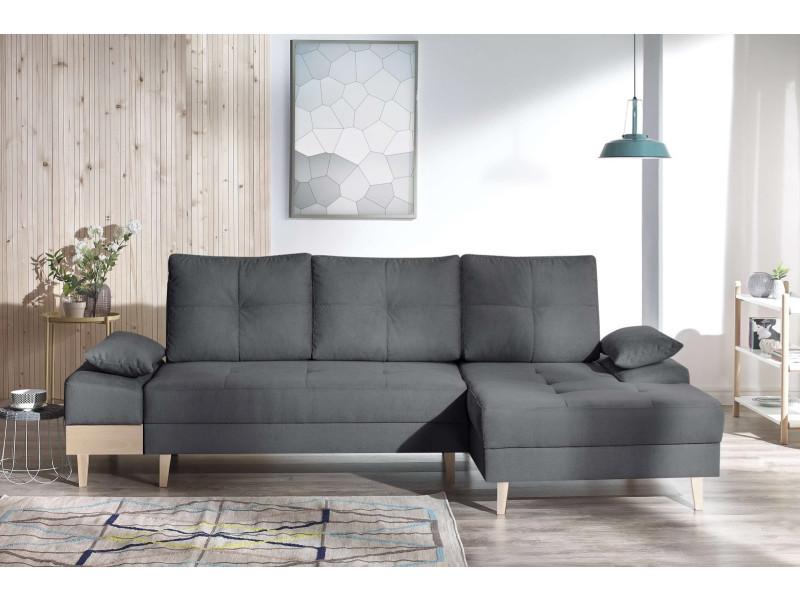 Canape d'angle convertible sven i droit (pieds et accoudoir en bois) enjoy anthracite 5906395169757