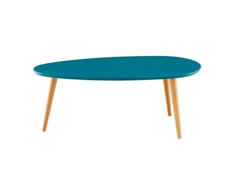 Table basse stone table basse ovale scandinave bleu paon laqué - l 88 x l 48 cm