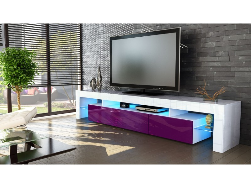 Meuble tv blanc et mûre 189 cm avec led